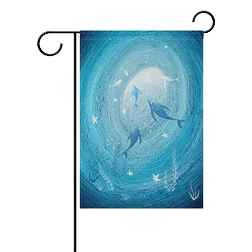 Chic Houses Lovely Dolphin Sea Watercolor Painting Outdoor Garden Flags Cute Animal Creative Design Fantasy Vertical Double Sided Home Decorative House Yard Sign 28 x 40 Inch 2031079