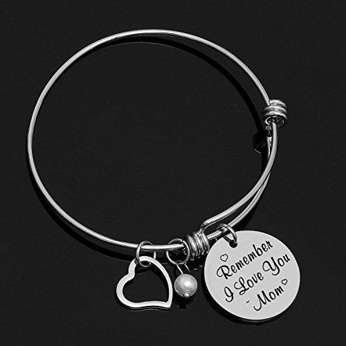 Yoomarket Mom charm bracelet Remember I love you mom Pearl Adjustable Pendant Bracelet Stainless Steel Women Jewelry Birthday Present by Yoomarket (Image #1)