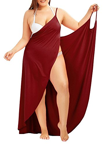 Fadalo Plus Size Spaghetti Strap Cover Up Beach Backless Wrap Long Dress (Large, Wine Red)
