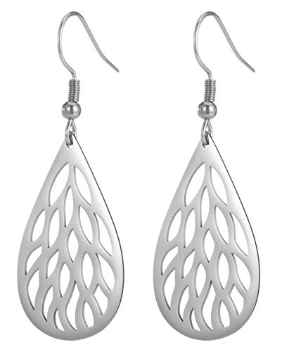 EUEAVAN Hollow Out Leaf Hook Earrings Oval Drop Dangler Women Ladies Jewelry for Anniversary Birthday Gifts (Silver)
