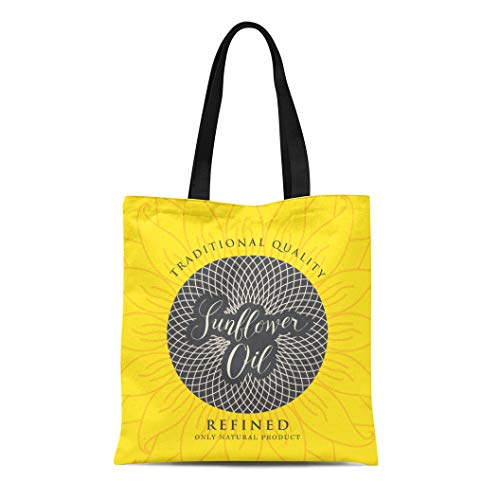 Semtomn Canvas Tote Bag Shoulder Bags Black Agriculture Label for Refined Sunflower Oil Handwritten Inscription Women's Handle Shoulder Tote Shopper Handbag
