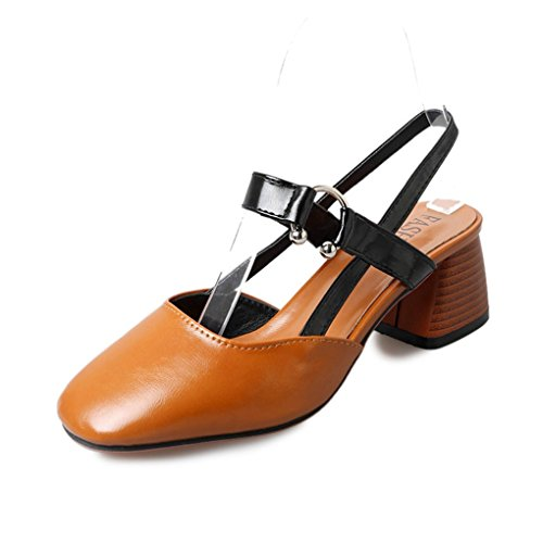 (Zarbrina Womens Chunky Mid Heels Sandals Ladies Clogs Mules Square Toe Slingback Soft Ankle Strap Shoes)