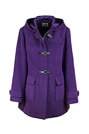 New Ladies Women Wool Hooded Hip Length Duffle Coat Purple: Amazon ...