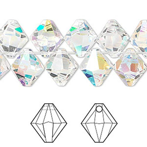 2 Crystal Passions 10mm Swarovski Faceted 6301 Bicone Drop Clear AB Beads