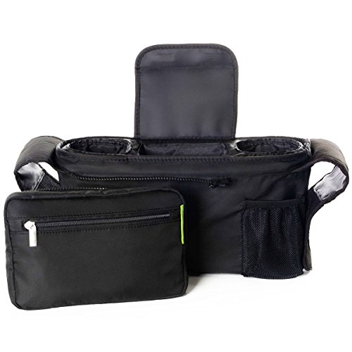 Large Product Image of BEST STROLLER ORGANIZER for Smart Moms, Fits All Strollers, Premium Deep Cup Holders, Extra-Large Storage Space for iPhones, Wallets, Diapers, Books, Toys, & iPads, The Perfect Baby Shower Gift!