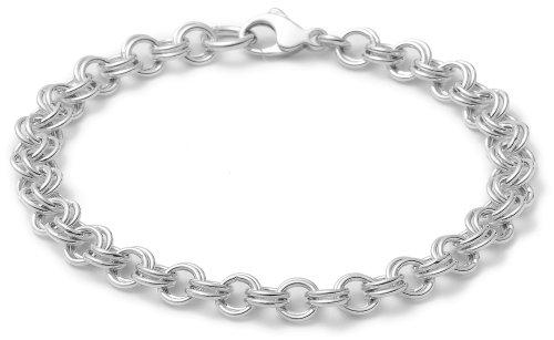 ": Sterling Silver Double Link Charm Bracelet, 7.5"""