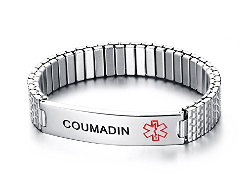 Mealguet Jewelry COUMADIN- Unisex Stainless Steel Medical Alert ID Tag Stretch Wristband Bracelet/Deep Black Engrave