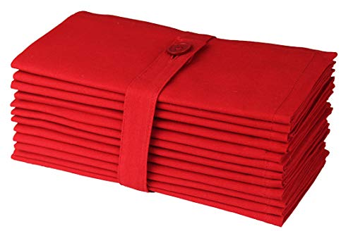 Cotton Craft - Dinner Napkins -12 Pack Oversized Dinner Napkins 18x18 Christmas Red, 100% Cotton, Tailored with Mitered Corners and a Generous Hem, Napkins are 38% Larger Than Standard Size ()