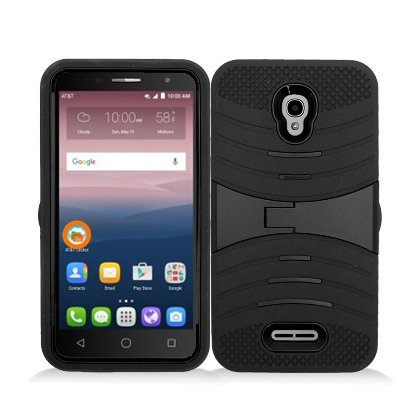 for at&T Alcatel Onetouch Allura Prepaid GoPhone LTE/Alcatel Pop 4 Plus/Alcatel Fierce 4, Hard Armor Cover Case Kickstand (Black) (Alcatel One Touch Fierce Prepaid Cell Phone)