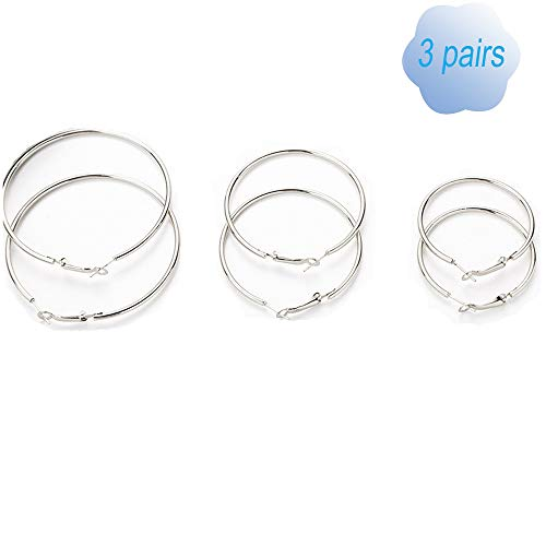 (3 Pairs Hoop Women Clip On Earrings Big Circle Varied Sizes Non Piercing Earrings Set Silver Toned)