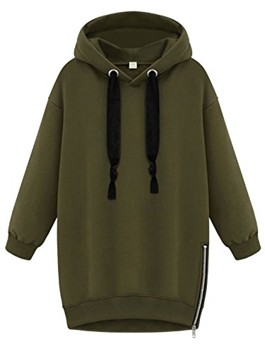 SheIn Women's Long Sleeve Zipper Loose Pullover Hoodie - Army Green X-Large