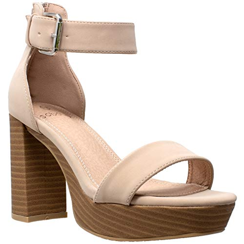 Women's High Platform Sandals Ankle Strap Chunky Block Heels Open Toe Shoes Taupe SZ ()
