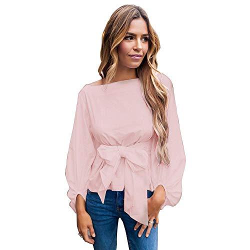 Filfeel Blusa de Moda, Lazo, Cuello de Cuello Redondo, una Variedad de Colores para Elegir, Ropa de Mujer(L-Rosa)