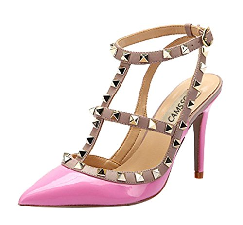 Rivets Pink Ankle Stiletto Studded Beige Trim Heels Classic Pumps Sandals High CAMSSOO Gold T Strap Women's Studs Patent Shoes tXqEwC8WO