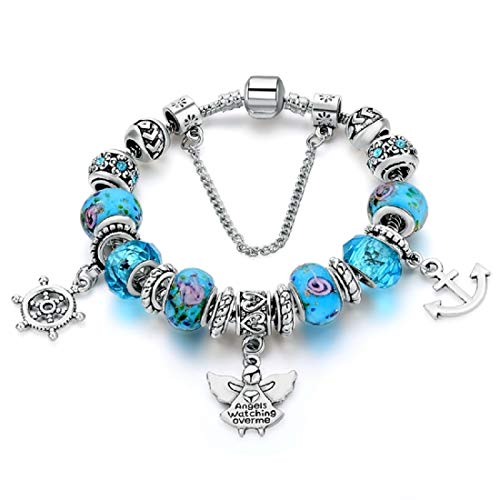 Hot And Bold Women's Sterling Plated Charm Bracelet Blue