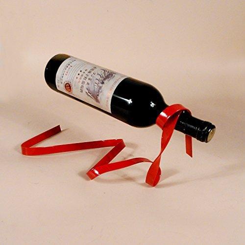 YK Magic Suspended Ribbon Wine Rack Suspension Wine Stand Novelty Iron Rack Bottle Holder Stand Bar Wedding Whiskey Stone Silk Rope (bright red)