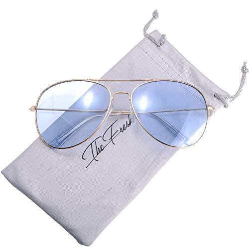 The Fresh Classic Metal Frame Light Color Lens XL Oversized Aviator Sunglasses with Gift Box (Gold, ()