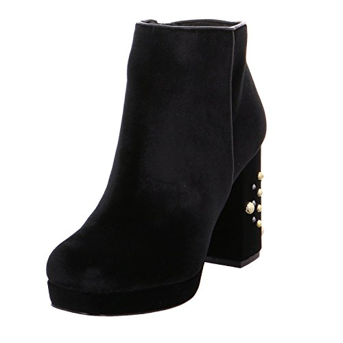 CAFèNOIR CAF Noir NE928 Black Boot Boots Women Velvet Zip Heel Studs Nero 3pxN4