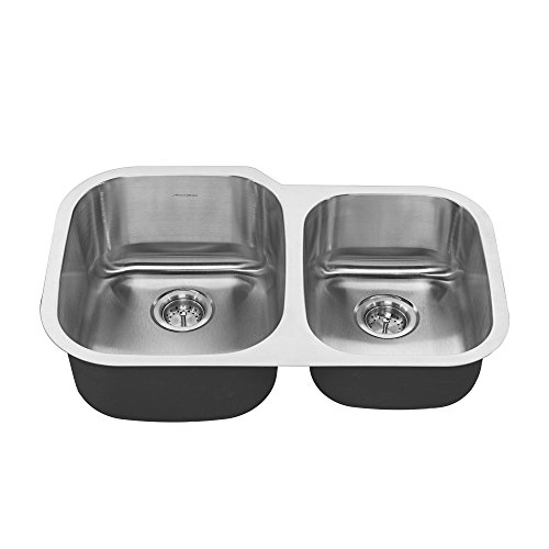 (American Standard 18CR.9322100S.075 Portsmouth Undermount 32x21 Offset Double Bowl Kitchen Sink Stainless Steel)