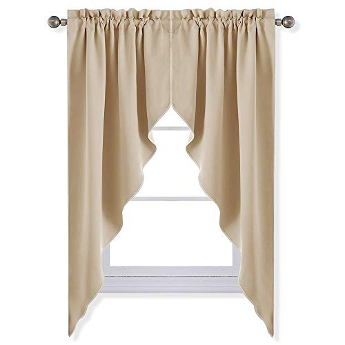 (NICETOWN Room Darkening Kitchen Tier Curtains- Tailored Scalloped Valance/Swags for Nursery for Basement (Biscotti Beige, 2 Pieces, 72 inch Wide Combined, 63 inch Long))