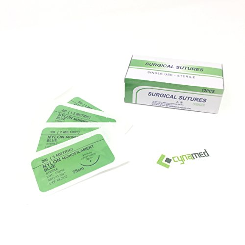 cynamed-suture-thread-with-needle-12-pack-training-sutures-pkg-of-12-12-5-0-30mm-blade-1-2-reverse-c