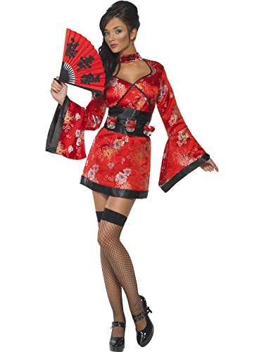 Smiffys Women's Vodka Geisha Costume, Dress and Belt with Shot Glass Holders, Around the World, Serious Fun, Size 6-8, 20559 -