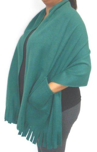 Polar Fleece Fringed Shawl Wrap Shoulder Cozy With