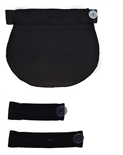 Mija - Set of 3: Maternity Pregnancy waistband adjustable elastic waist extenders with Panel 1028 (Black)