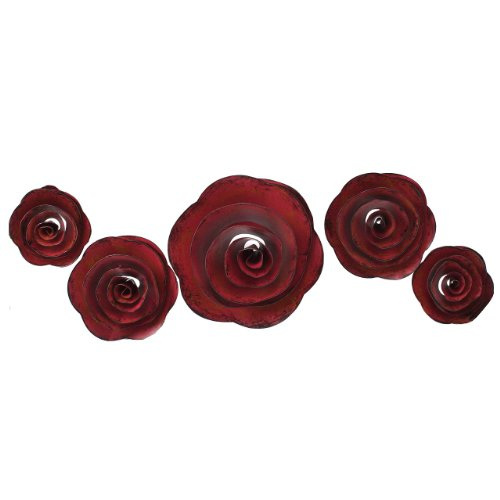 Fetco Home Decor (Fetco Home Decor Shawnee Magenta Roses Wall Art, 4.5 by 4.8-Inch, Magenta, Set of)