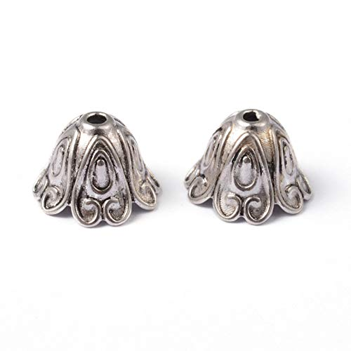 Pandahall 20pcs Tibetan Style Alloy Bead Caps 15x12mm Vintage Flower End Bead Caps Large Hole Cone Bead Spacers for Jewelry Making Dangle Charms Finding Supplies Lead Free & Cadmium Free