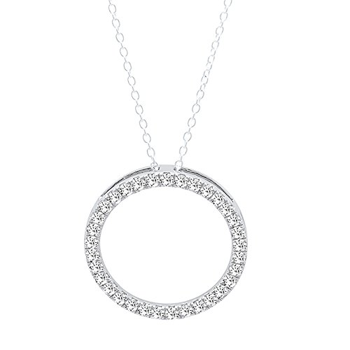 Dazzlingrock Collection 0.33 Carat (ctw) 14K Round White Diamond Circle Pendant 1/3 CT (Silver Chain Included), White Gold ()