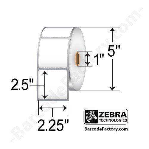 "UPC 640213046176, (10010041) Zebra 2.25x2.5 Z-Select 4000D Direct Thermal Label [1"" Core, 5"" OD, 1000/Roll, 4 Rolls/Case]"