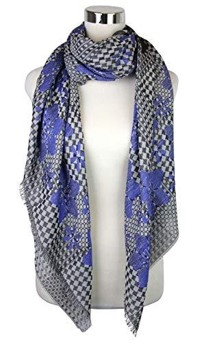 Alexander McQueen Women's Pied De Poule Black/Blue Silk Wool Cotton Scarf 376020 1068