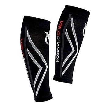 VeloChampion Compression Calf Sleeves - For Running, Cycling, Triathlon (Black, Small)