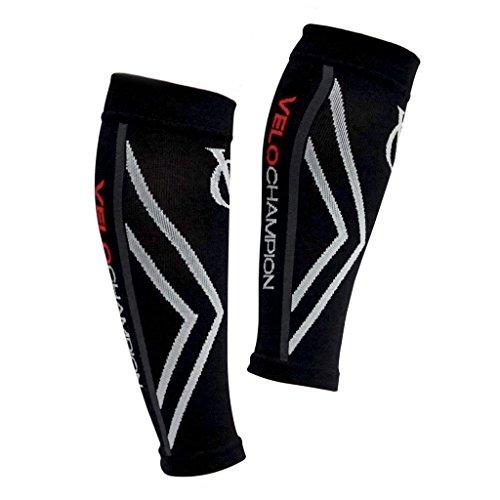 VeloChampion Compression Calf Guards/Sleeves (Black - Medium) - For Running, Cycling, - Triathlon Supplies