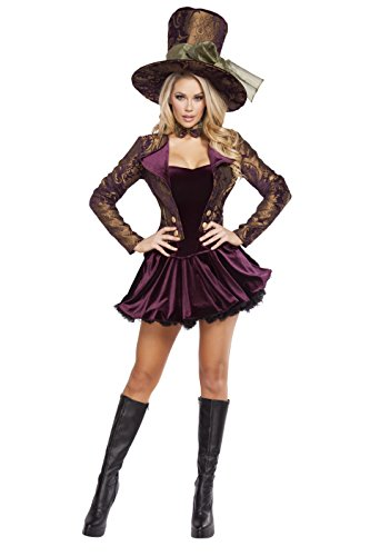 Roma Costume Women's 5 Piece Tea Party Vixen, Purple, Medium - Mad Hatters Tea Party Costume