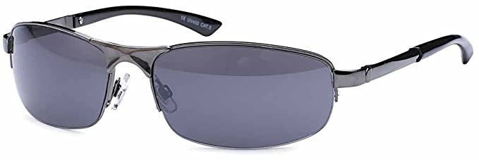 Kleine ovale Herren Sonnenbrille Edelstahl-Sonnenbrille UV400 Filter- Im Set mit Etui (anthrazitfarben) QzffL3u5