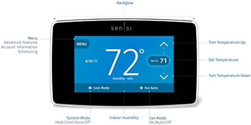 Emerson Sensi Touch Wi-Fi Smart Thermostat with Touchscreen Color Display, Works with Alexa, Energy Star Certified, C-wire Required, ST75 41KG9XmjbFL