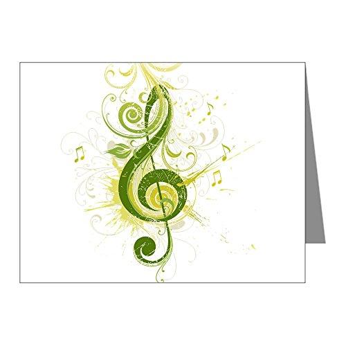 Note Card Musician Green Treble Clef