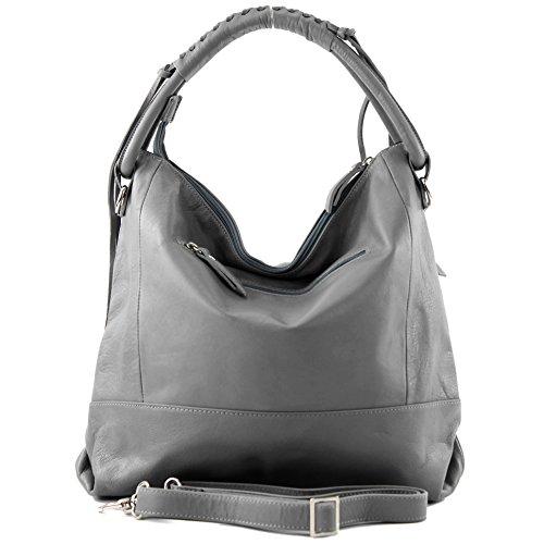 Made Italy - Bolso al hombro de cuero para mujer gris