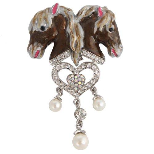 Horse Head Pin - EVER FAITH Crystal Simulated Pearl Enamel 2 Horse Head Love Heart Tassel Brooch Brown Silver-Tone