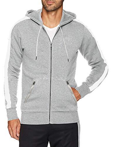 Men's Fitted Stripe Casual Workout Sweatshirt Zip Up Hoodie Top (XL,Grey - Hoody Zip Casual Sweatshirt