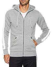 Men's Fitted Casual Workout Full Zip Stripe Hoodie Sweatshirt