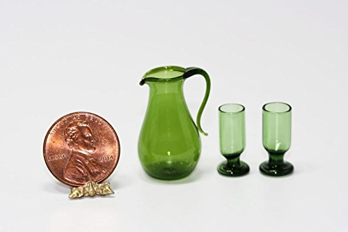 Royal Miniatures Dollhouse Miniature Green Glass Pitcher and 2 Glasses ()