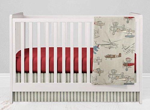 Crib Bedding Set - Vintage Airplane Red - 3 Piece Crib Bedding Set by Twig + Bird - Handmade in America