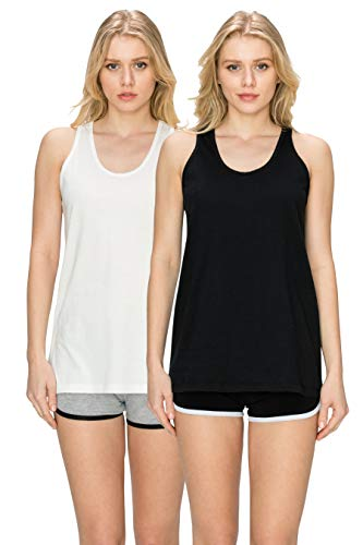 (EttelLut Relaxed Flowy Knit Summer Loose Fitting Tank Tops for Women: Workout Jersey Sexy Pack Black/White XL)