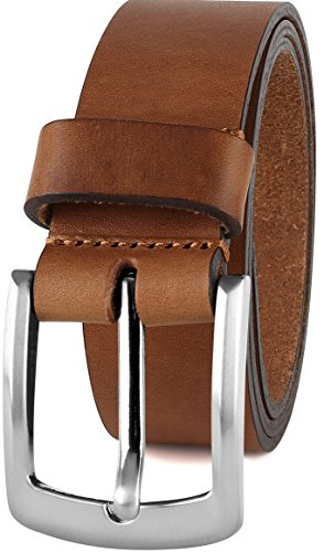 (Men's Casual Full Grain Classic Leather Dress Belt For Jeans,1.5