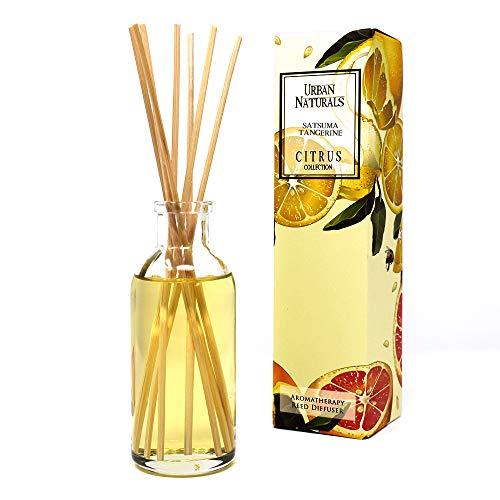 Urban Naturals Satsuma Tangerine Scented Reed Sticks Diffuser Oil Gift Set | Tangerine Zest, Mandarin Orange & Fresh Mango Essential Oils | Fresh Citrus Scent | Home Gift Idea. -