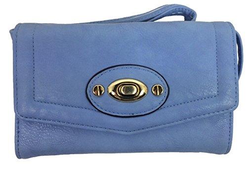 Noelle Vegan Faux Leather Accordion Crossbody Handbag in Blue
