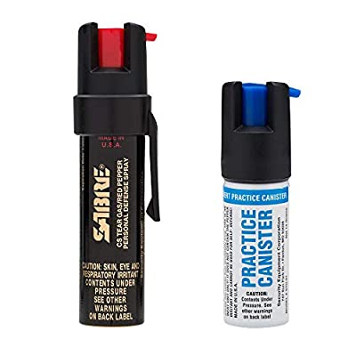 Sabre 3-in-1 Pepper Spray - Police Strength - Compact Size w/Clip - Standalone Unit – Also Available w/Optional Sabre Red Pepper Spray Practice Canister